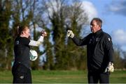 1 March 2020; Goalkeeper Courtney Brosnan and goalkeeping coach Jan Willem van Ede during a Republic of Ireland Women training session at Johnstown House in Enfield, Co Meath. Photo by Stephen McCarthy/Sportsfile
