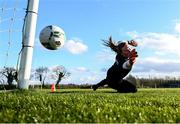 1 March 2020; Goalkeeper Courtney Brosnan pushes the ball past the post during a Republic of Ireland Women training session at Johnstown House in Enfield, Co Meath. Photo by Stephen McCarthy/Sportsfile