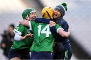 1 March 2020; Sarsfields players, from left, Laura Ward, Siobhán McGrath and Tara Kenny celebrate following the AIB All-Ireland Senior Camogie Club Championship Final match between Sarsfields and Slaughtneil at Croke Park in Dublin. Photo by Harry Murphy/Sportsfile