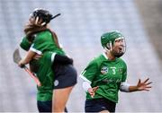 1 March 2020; Laura Ward of Sarsfields celebrates following the AIB All-Ireland Senior Camogie Club Championship Final match between Sarsfields and Slaughtneil at Croke Park in Dublin. Photo by Harry Murphy/Sportsfile