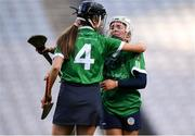 1 March 2020; Sinéad Cannon, right, and Kate Gallagher of Sarsfields celebrate following the AIB All-Ireland Senior Camogie Club Championship Final match between Sarsfields and Slaughtneil at Croke Park in Dublin. Photo by Harry Murphy/Sportsfile