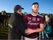 1 March 2020; Galway manager Padraic Joyce celebrates with Robert Finnerty of Galway after the Allianz Football League Division 1 Round 5 match between Meath and Galway at Páirc Tailteann in Navan, Meath. Photo by Daire Brennan/Sportsfile