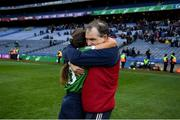 1 March 2020; Sarsfields manager Michael McGrath and Cora Kenny of Sarsfields celebrate following the AIB All-Ireland Senior Camogie Club Championship Final match between Sarsfields and Slaughtneil at Croke Park in Dublin. Photo by Harry Murphy/Sportsfile