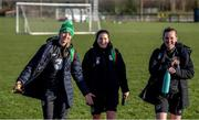 1 March 2020; Louise Quinn, left, Niamh Fahey and Claire O'Riordan following a Republic of Ireland Women training session at Johnstown House in Enfield, Co Meath. Photo by Stephen McCarthy/Sportsfile