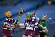 1 March 2020; Tina Bradley, Josephine McMullan and Therese Mellon of Slaughtneil in action against Laura Ward of Sarsfields during the AIB All-Ireland Senior Camogie Club Championship Final match between Sarsfields and Slaughtneil at Croke Park in Dublin. Photo by Harry Murphy/Sportsfile