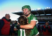 1 March 2020; Orlaith McGrath and Sara Spellman of Sarsfields celebrate following the AIB All-Ireland Senior Camogie Club Championship Final match between Sarsfields and Slaughtneil at Croke Park in Dublin. Photo by Harry Murphy/Sportsfile