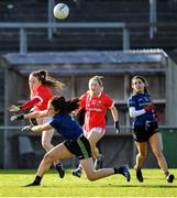 1 March 2020; Aisling Hutchings of Cork kicks a point under pressure from Noirin Moran of Mayo during the Lidl Ladies National Football League Division 1 match between Cork and Mayo at Mallow GAA Complex in Cork. Photo by Seb Daly/Sportsfile