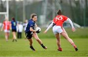 1 March 2020; Roisin Durkin of Mayo in action against Shauna Kelly of Cork during the Lidl Ladies National Football League Division 1 match between Cork and Mayo at Mallow GAA Complex in Cork. Photo by Seb Daly/Sportsfile