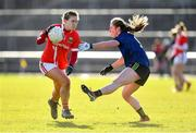 1 March 2020; Libby Coppinger of Cork in action against Sinéad Cafferky of Mayo during the Lidl Ladies National Football League Division 1 match between Cork and Mayo at Mallow GAA Complex in Cork. Photo by Seb Daly/Sportsfile