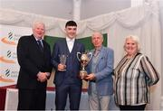2 March 2020; Alan Miley of St Lawrence O'Toole AC, Carlow, is presented the Breda Synott Youth Nations Cup by Chairperson of the Athletics Ireland Juvenile Committee John McGrath, President of the Irish Schools Athletic Association Billy Delaney and President of Athletics Ireland Georgina Drumm during the Juvenile Star Awards 2019 at The Bridge Hotel in Tullamore, Offaly. Photo by Harry Murphy/Sportsfile