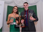 2 March 2020; Ava O'Connor of Tullamore Harriers AC, Offaly, with the Breda Synott Youth Nations Cup and Louis O'Loughlin of Donore Harriers, Dublin, with the Juvenile Committee Special Recognition Trophy during the Juvenile Star Awards 2019 at The Bridge Hotel in Tullamore, Offaly. Photo by Harry Murphy/Sportsfile
