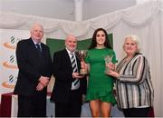 2 March 2020; Laura Frawley of St Mary's AC, Limerick, is presented the Aine Pobjoy U16 trophy by Chairperson of the Athletics Ireland Juvenile Committee John McGrath, Cyril Smyth and President of Athletics Ireland Georgina Drumm during the Juvenile Star Awards 2019 at The Bridge Hotel in Tullamore, Offaly. Photo by Harry Murphy/Sportsfile