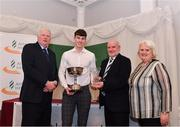 2 March 2020; Conor Cusack of Lake District AC, Mayo, is presented Robin Sykes Achievement Trophy by Chairperson of the Athletics Ireland Juvenile Committee John McGrath, Cyril Smyth and President of Athletics Ireland Georgina Drumm during the Juvenile Star Awards 2019 at The Bridge Hotel in Tullamore, Offaly. Photo by Harry Murphy/Sportsfile