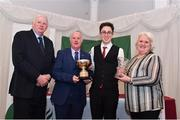2 March 2020; Oisin Lane of Mullingar Harriers AC, Westmeath, is presented the Roisin O'Callaghan Trophy by Chairperson of the Athletics Ireland Juvenile Committee John McGrath, Bernie O'Callaghan, and President of Athletics Ireland Georgina Drumm during the Juvenile Star Awards 2019 at The Bridge Hotel in Tullamore, Offaly. Photo by Harry Murphy/Sportsfile