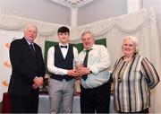 2 March 2020; Jack Forde of St Killian's AC, Wexford, is presented his Star Award trophy by Chairperson of the Athletics Ireland Juvenile Committee John McGrath, Jim Corcoan and President of Athletics Ireland Georgina Drumm during the Juvenile Star Awards 2019 at The Bridge Hotel in Tullamore, Offaly. Photo by Harry Murphy/Sportsfile