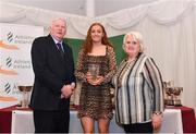 2 March 2020; Molly Curran of Carmen Runners AC, Tyrone, is presented her Star Award trophy by Chairperson of the Athletics Ireland Juvenile Committee John McGrath and President of Athletics Ireland Georgina Drumm during the Juvenile Star Awards 2019 at The Bridge Hotel in Tullamore, Offaly. Photo by Harry Murphy/Sportsfile