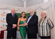 2 March 2020; Ava O'Connor of Tullamore Harriers AC, Offaly, is presented her Star Award trophy by Chairperson of the Athletics Ireland Juvenile Committee John McGrath, John Cronin and President of Athletics Ireland Georgina Drumm during the Juvenile Star Awards 2019 at The Bridge Hotel in Tullamore, Offaly. Photo by Harry Murphy/Sportsfile