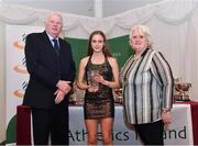 2 March 2020; Kirsti Charlotte Foster of Willowfield AC, Down, is presented her Star Award trophy by Chairperson of the Athletics Ireland Juvenile Committee John McGrath and President of Athletics Ireland Georgina Drumm during the Juvenile Star Awards 2019 at The Bridge Hotel in Tullamore, Offaly. Photo by Harry Murphy/Sportsfile