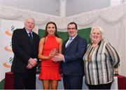 2 March 2020; Caoimhe Cronin of Le Chéile AC, Kildare, is presented her Star Award trophy by Chairperson of the Athletics Ireland Juvenile Committee John McGrath, Kieron Stout, and President of Athletics Ireland Georgina Drumm during the Juvenile Star Awards 2019 at The Bridge Hotel in Tullamore, Offaly. Photo by Harry Murphy/Sportsfile