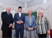 2 March 2020; Alan Miley of St. Lawrence O'Toole AC, Carlow, is presented his Star Award trophy by Chairperson of the Athletics Ireland Juvenile Committee John McGrath, President of the Irish Schools Athletic Association Billy Delaney and President of Athletics Ireland Georgina Drumm during the Juvenile Star Awards 2019 at The Bridge Hotel in Tullamore, Offaly. Photo by Harry Murphy/Sportsfile
