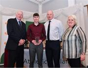 2 March 2020; Adam Turner of Belgooly AC, Cork, is presented his Star Award trophy by Chairperson of the Athletics Ireland Juvenile Committee John McGrath Athletics Ireland CEO Hamish Adams and President of Athletics Ireland Georgina Drumm during the Juvenile Star Awards 2019 at The Bridge Hotel in Tullamore, Offaly. Photo by Harry Murphy/Sportsfile