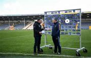 1 March 2020; Tipperary manager Liam Sheedy is interviewed by TG4 presenter Micheál Ó Domhnaill ahead of the Allianz Hurling League Division 1 Group A Round 5 match between Tipperary and Waterford at Semple Stadium in Thurles, Tipperary. Photo by Ramsey Cardy/Sportsfile