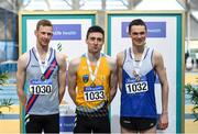 1 March 2020; Senior Men's 800m medalists, from left, Zak Curran of Dundrum South Dublin AC, Mark English of UCD AC, Dublin and Conor Duncan of Ratoath AC, Meath during Day Two of the Irish Life Health National Senior Indoor Athletics Championships at the National Indoor Arena in Abbotstown in Dublin. Photo by Eóin Noonan/Sportsfile