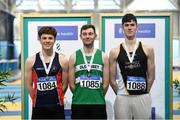 1 March 2020; Senior Mens high jump medalists, from left, Ciaran Connolly of Le Chéile AC, Kildare, David Cussen of Old Abbey AC, Cork and Geoffrey Joy O'Regan of Sun Hill Harriers AC, Limerick during Day Two of the Irish Life Health National Senior Indoor Athletics Championships at the National Indoor Arena in Abbotstown in Dublin. Photo by Eóin Noonan/Sportsfile