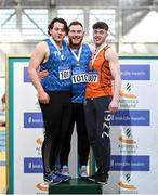 1 March 2020; Senior Men's Shotput medalists, from left, James Kelly of Finn Valley AC, Donegal, John Kelly of Finn Valley AC, Donegal and Sean Carolan of Nenagh Olympic AC, Tipperary during Day Two of the Irish Life Health National Senior Indoor Athletics Championships at the National Indoor Arena in Abbotstown in Dublin. Photo by Eóin Noonan/Sportsfile