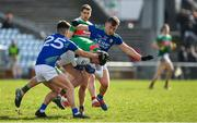 1 March 2020; Jordan Flynn of Mayo is tackled by Tony Brosnan, left, and Dara Moynihan of Kerry during the Allianz Football League Division 1 Round 5 match between Mayo and Kerry at Elverys MacHale Park in Castlebar, Mayo. Photo by Brendan Moran/Sportsfile