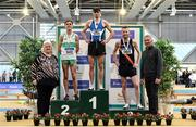 1 March 2020; Athletics Ireland President Georgina Drumm, left, and 3-time Olympian Eamonn Coghlan, right, with Senior Men's 1500m medallists, from left, Brian Fay of Raheny Shamrock AC, Dublin, silver, Andrew Coscoran of Star of the Sea AC, gold, and Eoin Pierce of Clonliffe Harriers AC, Dublin, bronze, during Day Two of the Irish Life Health National Senior Indoor Athletics Championships at the National Indoor Arena in Abbotstown in Dublin. Photo by Sam Barnes/Sportsfile