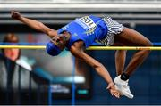 1 March 2020; Nelvin Appiah of Longford AC, competing in the Senior Men's High Jump event during Day Two of the Irish Life Health National Senior Indoor Athletics Championships at the National Indoor Arena in Abbotstown in Dublin. Photo by Sam Barnes/Sportsfile