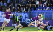 2 March 2020; Peter Maher of Clongowes Wood College is tackled by Fionn Gibbons of St Vincent's, Castleknock College, during the Bank of Ireland Leinster Schools Senior Cup Semi-Final between Clongowes Wood College and St Vincent's, Castleknock College, at Energia Park in Donnybrook, Dublin. Photo by Ramsey Cardy/Sportsfile
