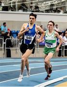 1 March 2020; Andrew Coscoran of Star of the Sea AC, left, and Brian Fay of Raheny Shamrock AC, Dublin, competing in the Senior Men's 1500m event during Day Two of the Irish Life Health National Senior Indoor Athletics Championships at the National Indoor Arena in Abbotstown in Dublin. Photo by Sam Barnes/Sportsfile