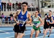 1 March 2020; Andrew Coscoran of Star of the Sea AC, left, competing in the Senior Men's 1500m event during Day Two of the Irish Life Health National Senior Indoor Athletics Championships at the National Indoor Arena in Abbotstown in Dublin. Photo by Sam Barnes/Sportsfile