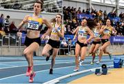 1 March 2020; Eventual winner Louise Shanahan of Leevale AC, Cork, second from left, competing in the Senior Women's 1500m event during Day Two of the Irish Life Health National Senior Indoor Athletics Championships at the National Indoor Arena in Abbotstown in Dublin. Photo by Sam Barnes/Sportsfile