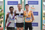 1 March 2020; Senior Men's 3000m medallists, from left, Hiko Haso Tonosa of Dundrum South Dublin AC, silver, John Travers of Donore Harriers, Dublin, gold, and Darragh McElhinney of UCD AC, Dublin, bronze, during Day Two of the Irish Life Health National Senior Indoor Athletics Championships at the National Indoor Arena in Abbotstown in Dublin. Photo by Sam Barnes/Sportsfile
