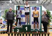 1 March 2020; Athletics Ireland President Georgina Drumm, right, and Pat Hooper, with Senior Men's 3000m medallists, from left, Hiko Haso Tonosa of Dundrum South Dublin AC, silver, John Travers of Donore Harriers, Dublin, gold, and Darragh McElhinney of UCD AC, Dublin, bronze, during Day Two of the Irish Life Health National Senior Indoor Athletics Championships at the National Indoor Arena in Abbotstown in Dublin. Photo by Sam Barnes/Sportsfile