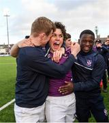 2 March 2020; Clongowes Wood College players, Steven Black, left, Rory Morrin, centre, and Charles Kedde following the Bank of Ireland Leinster Schools Senior Cup Semi-Final between Clongowes Wood College and St Vincent's, Castleknock College, at Energia Park in Donnybrook, Dublin. Photo by Ramsey Cardy/Sportsfile