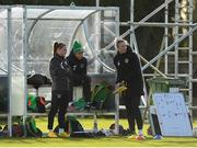 2 March 2020; Katie McCabe, left, Rianna Jarrett, centre, and Louise Quinn during a Republic of Ireland Women training session at Johnstown House in Enfield, Co Meath. Photo by Seb Daly/Sportsfile