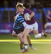 2 March 2020; Oisin Devitt of Clongowes Wood College on his way to scoring his side's fourth try during the Bank of Ireland Leinster Schools Senior Cup Semi-Final between Clongowes Wood College and St Vincent's, Castleknock College, at Energia Park in Donnybrook, Dublin. Photo by Ramsey Cardy/Sportsfile
