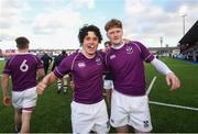 2 March 2020; Rory Morrin, left, and Peter Maher of Clongowes Wood College following the Bank of Ireland Leinster Schools Senior Cup Semi-Final between Clongowes Wood College and St Vincent's, Castleknock College, at Energia Park in Donnybrook, Dublin. Photo by Ramsey Cardy/Sportsfile