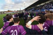 2 March 2020; Clongowes Wood College Head coach Pat Kenny speaks to his team following the Bank of Ireland Leinster Schools Senior Cup Semi-Final between Clongowes Wood College and St Vincent's, Castleknock College, at Energia Park in Donnybrook, Dublin. Photo by Ramsey Cardy/Sportsfile