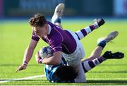 2 March 2020; Hugh Wilkinson of Clongowes Wood College is tackled by Alex Watson of St Vincent's, Castleknock College, during the Bank of Ireland Leinster Schools Senior Cup Semi-Final between Clongowes Wood College and St Vincent's, Castleknock College, at Energia Park in Donnybrook, Dublin. Photo by Ramsey Cardy/Sportsfile