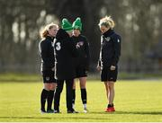 2 March 2020; Republic of Ireland manager Vera Pauw talks with players, from left, Amber Barrett, Claire O'Riordan and Diane Caldwell during a Republic of Ireland Women training session at Johnstown House in Enfield, Co Meath. Photo by Seb Daly/Sportsfile