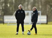 2 March 2020; Louise Quinn, left, and Katie McCabe during a Republic of Ireland Women training session at Johnstown House in Enfield, Co Meath. Photo by Seb Daly/Sportsfile