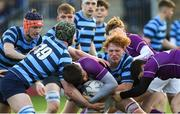 2 March 2020; Diarmuid McCormack of Clongowes Wood College is tackled by Alec Birnie, left, and Ethan Keogh of St Vincent's, Castleknock College, during the Bank of Ireland Leinster Schools Senior Cup Semi-Final between Clongowes Wood College and St Vincent's, Castleknock College, at Energia Park in Donnybrook, Dublin. Photo by Ramsey Cardy/Sportsfile