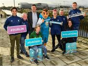 4 March 2020; FAI Interim Deputy CEO Niall Quinn joined ex Republic of Ireland Women's international Olivia O'Toole as well as representatives from the UEFA EURO 2020 volunteers and mascot Skillzy to mark the '100 Days To Go' milestone in Dublin today. Over 1,400 volunteers have already signed up and UEFA EURO 2020 are calling on the general public to be a part of the EURO 2020 City Volunteer Team here: https://euro2020.fai.ie/2020/02/27/be-part-of-euro-2020-city-volunteer-team/. In attendance at the launch is FAI Interim Deputy CEO Niall Quinn, ex Republic of Ireland Women's international Olivia O'Toole, and official UEFA EURO 2020 mascot Skillzy, pictured alongside UEFA EURO 2020 Volunteers, from left, Yash Nabar, Alan O'Halloran, Kasia Salek, Stephen O'Halloran, Cynthia Rivera and Vito Moloney Burke. Photo by Seb Daly/Sportsfile
