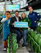 4 March 2020; FAI Interim Deputy CEO Niall Quinn joined ex Republic of Ireland Women's international Olivia O'Toole as well as representatives from the UEFA EURO 2020 volunteers and mascot Skillzy to mark the '100 Days To Go' milestone in Dublin today. Over 1,400 volunteers have already signed up and UEFA EURO 2020 are calling on the general public to be a part of the EURO 2020 City Volunteer Team here: https://euro2020.fai.ie/2020/02/27/be-part-of-euro-2020-city-volunteer-team/. In attendance at the launch are FAI Interim Deputy CEO Niall Quinn, centre, ex Republic of Ireland Women's international Olivia O'Toole, official UEFA EURO 2020 mascot Skillzy, and UEFA EURO 2020 Volunteer Kasia Salek. Photo by Seb Daly/Sportsfile