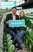 4 March 2020; FAI Interim Deputy CEO Niall Quinn joined ex Republic of Ireland Women's international Olivia O'Toole as well as representatives from the UEFA EURO 2020 volunteers and mascot Skillzy to mark the '100 Days To Go' milestone in Dublin today. Over 1,400 volunteers have already signed up and UEFA EURO 2020 are calling on the general public to be a part of the EURO 2020 City Volunteer Team here: https://euro2020.fai.ie/2020/02/27/be-part-of-euro-2020-city-volunteer-team/. In attendance at the launch are FAI Interim Deputy CEO Niall Quinn and ex Republic of Ireland Women's international Olivia O'Toole. Photo by Seb Daly/Sportsfile